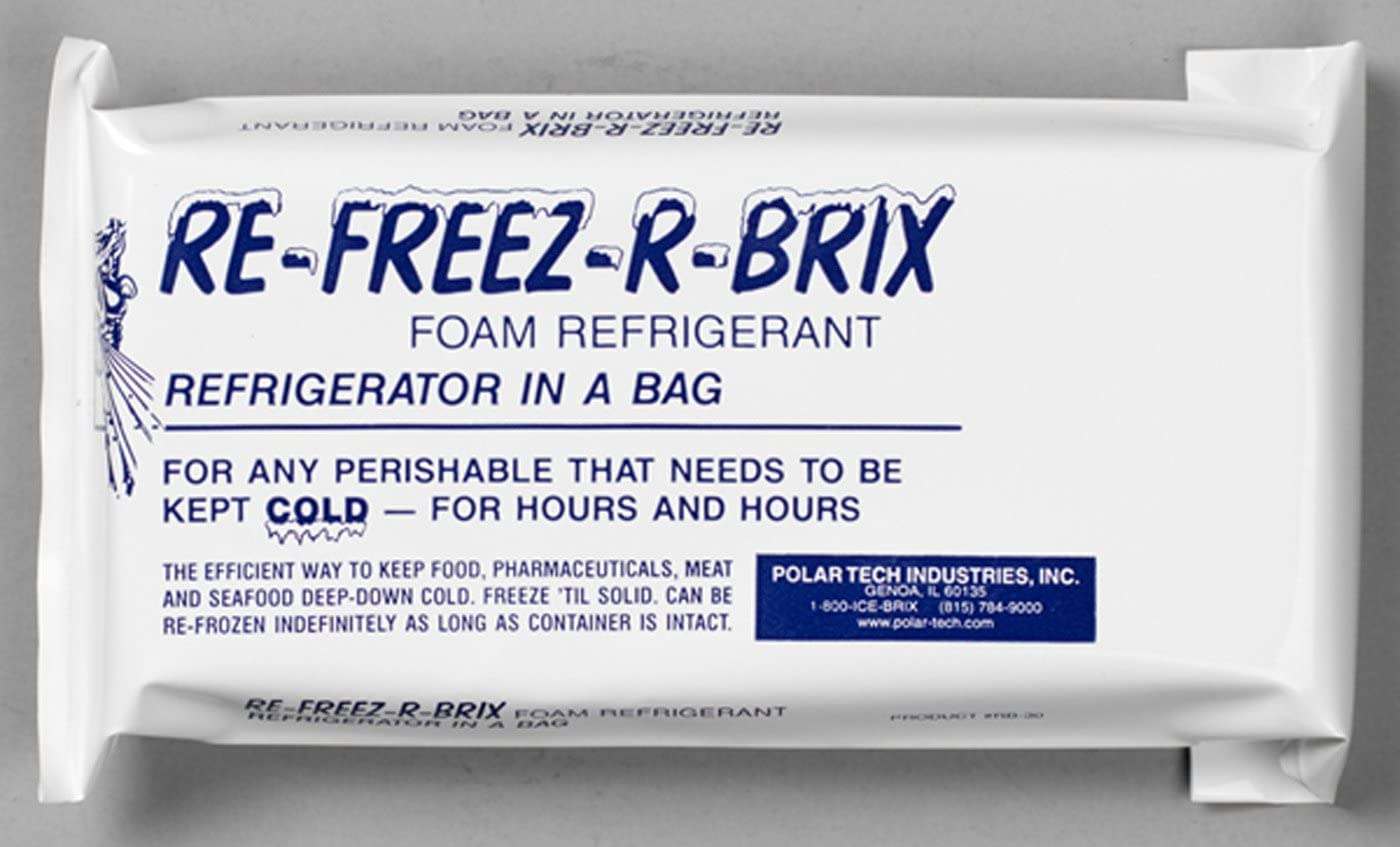 "Polar Tech RB30 Re-Freez-R-Brix Foam Refrigerant Pack, 9"" Length x 4"" Width x 1-1/2"" Thick (Case of 3)"