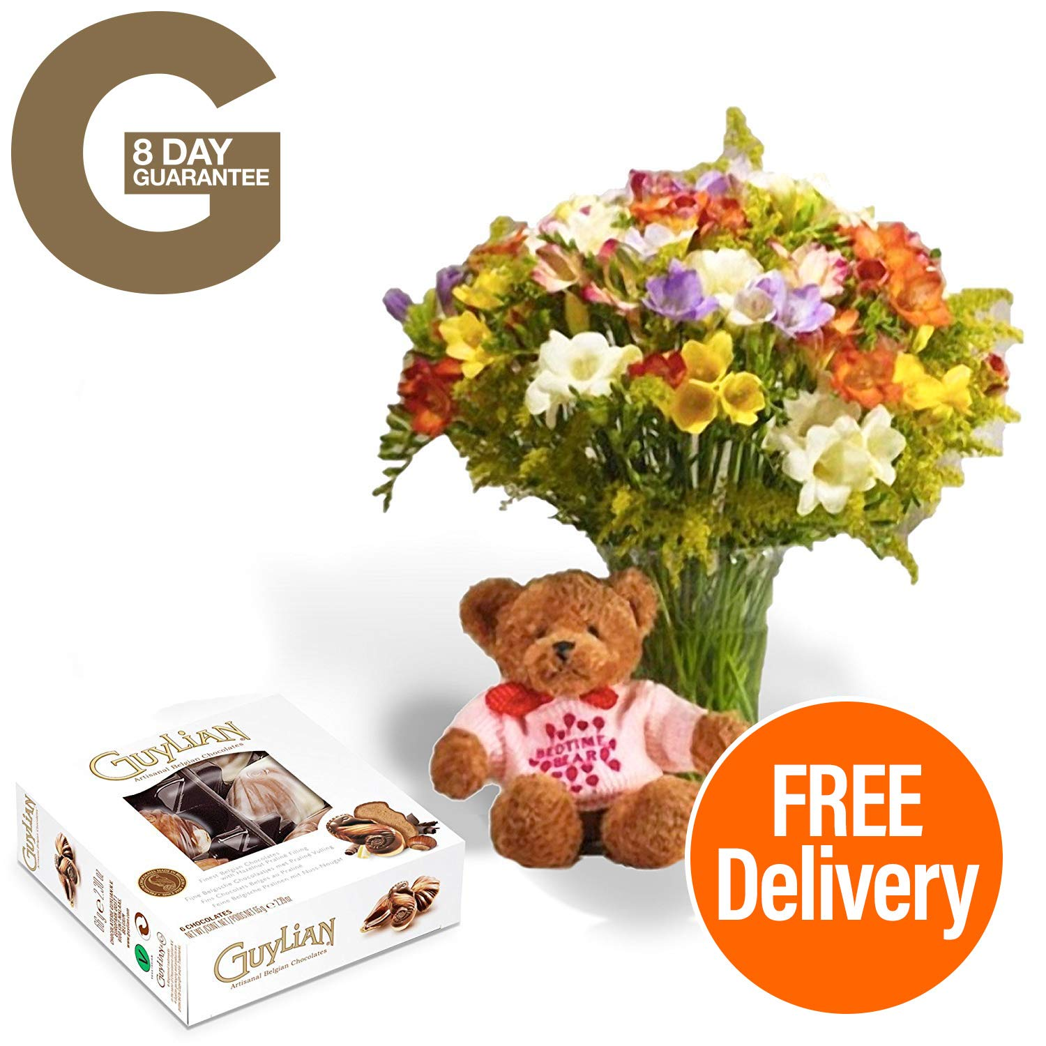 Fresh Flowers Delivered - Guernsey Freesia Bouquet with Baby Girl Bear, Chocolates, Flower Food and Bonus Ebook Guide - Perfect for birthdays, anniversaries and thank you gifts - 8 Day Guarantee Guernsey Flowers