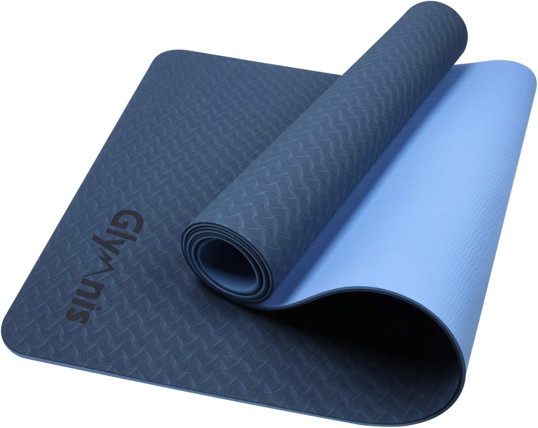 Glymnis - Esterilla de yoga de TPE antideslizante de doble cara e impermeable, tamaño de 183 × 61 × 0,6 cm con correa, apta para yoga, gimnasia, entrenamiento, Blu Scuro-Blu: Amazon.es: Deportes y aire libre