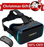 IMESIV 3D VR Headset with Remote Controller, Virtual Reality Headset Glasses Panoramic Large Viewing Immersive Experience HD VR Goggles for VR Games and 3D Movie VR Box Compatible for IOS Android Smartphones