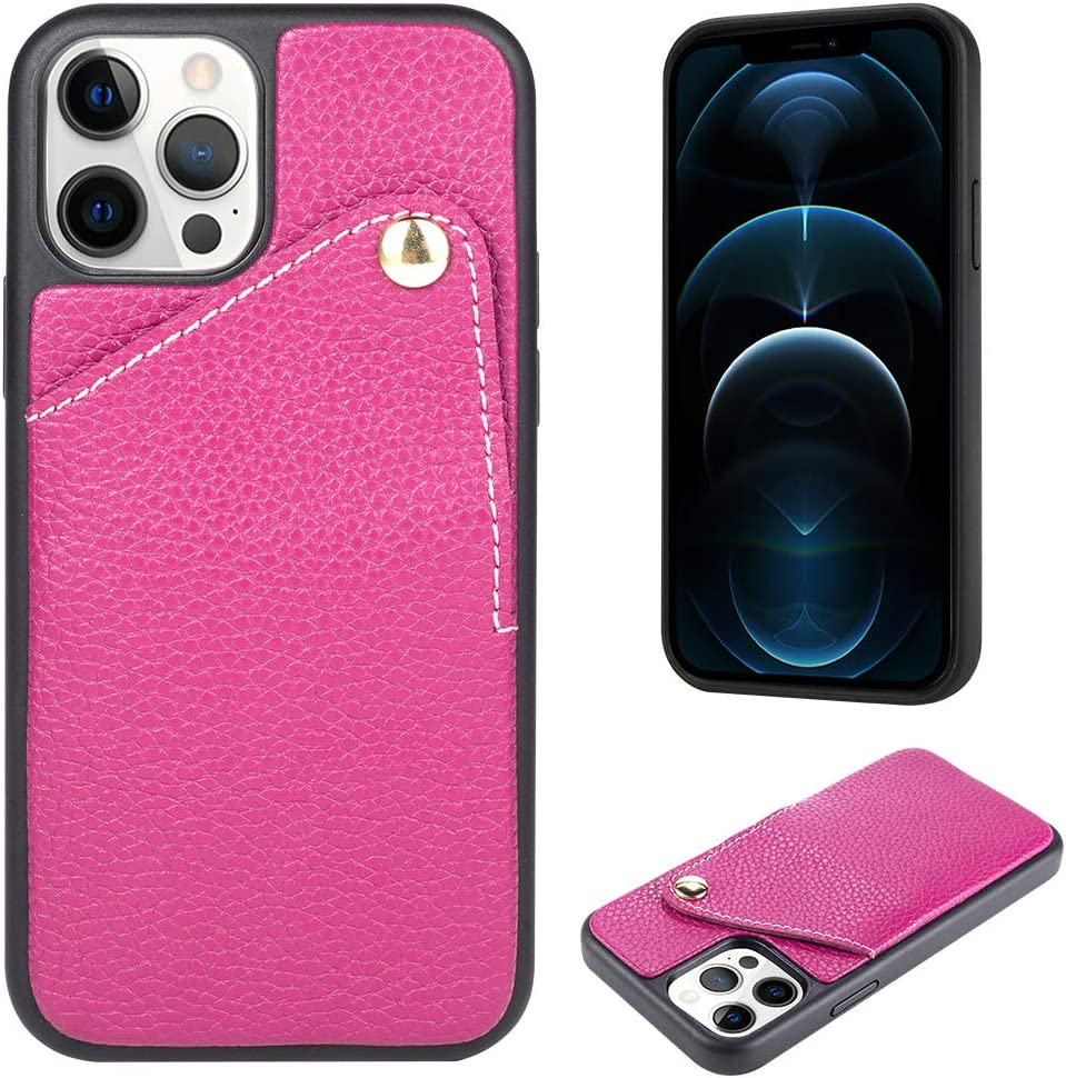 """ZVE Wallet Case Compatible for iPhone 12/iPhone 12 Pro Wallet Case with Credit Card Holder Slot Handbag Purse Protective Leather Cover for iPhone 12 Pro/iPhone 12,6.1"""" -Rose Purple"""
