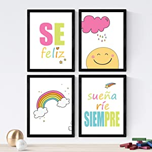 Nacnic Set of 4 Sheets of Messages Children in 8'x11' Size, Poster Paper 250 gr. Frameless