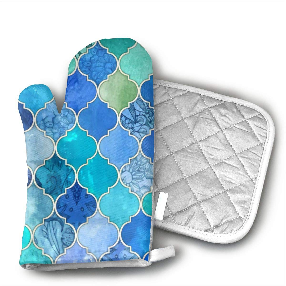 not Oven Mitts and Potholders Cobalt Blue and Aqua Decorative Moroccan Tiles Non-Slip Grip Heat Resistant Oven Gloves BBQ Cooking Baking Grilling