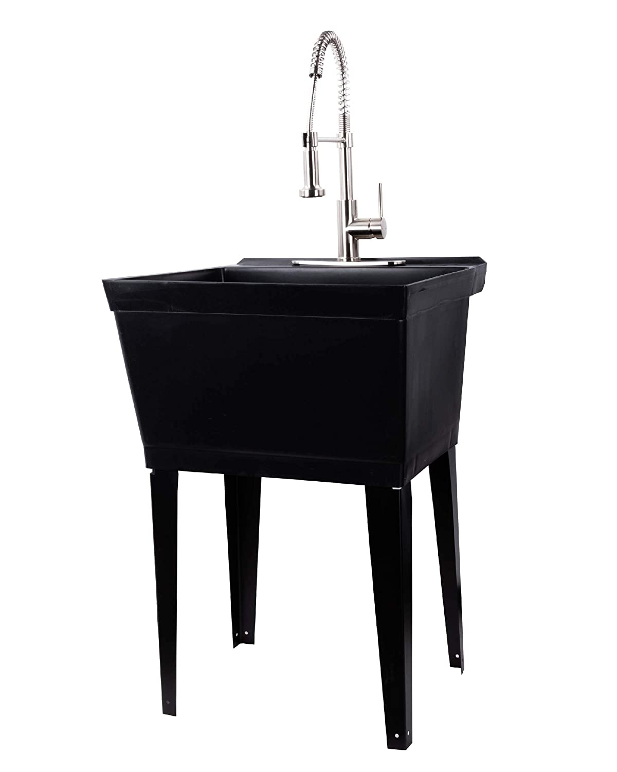 Black Utility Sink Laundry Tub with Commercial Grade Stainless Steel Pull Down Sprayer Faucet, Integrated Supply Lines, and Drainage are Included, Free Standing Wash Station, Heavy Duty Floor Mounted