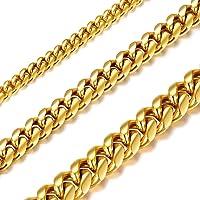 Richsteel Collar Cubano de Acero Inoxidable para Hombres Mujeres, 6/10/14mm Grosor 41cm-76cm Largo [Platino/Dorado/Negro…
