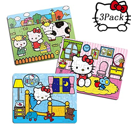 5942513ba 40 Piece Hello Kitty Puzzles – 3 in 1 Cute Hello Kitty Jigsaw Puzzle Toys  for