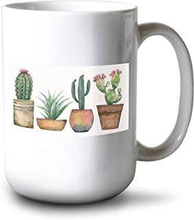 product image for Lantern Press Watercolor Painting Set of Cacti & Succulent Plants Isolated on White A-9014255 (15oz White Ceramic Mug)