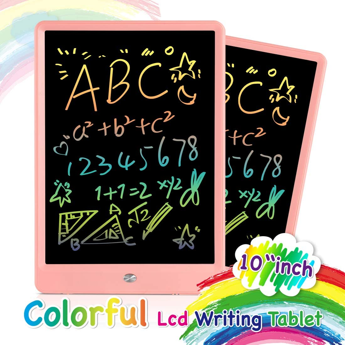 Electronic Pads Learning LCD Writing Tablet 10 Inch,Colorful Magnetic Doodle Board Drawing Board,Erasable Reusable Pad Educational for Kids and Adults at Home School Office Inch with Colorful Screen