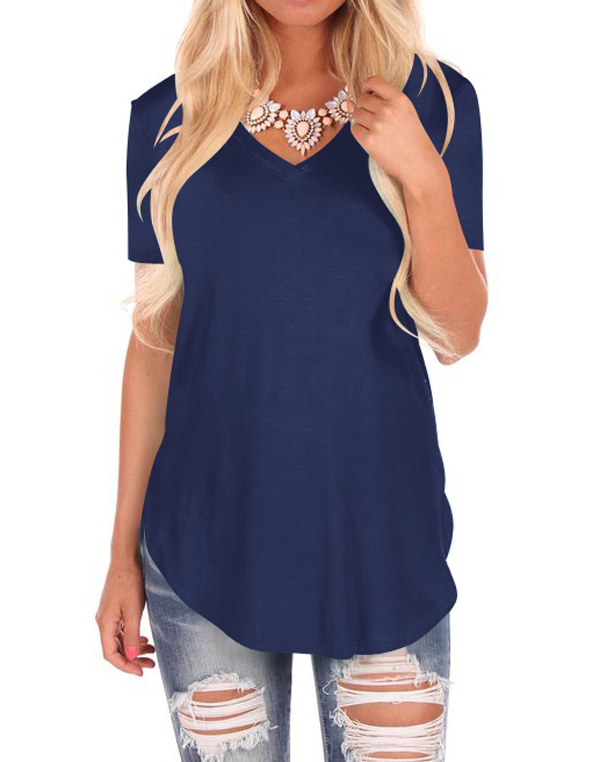 WFTBDREAM Womens Loose Fashion Solid Short V Neck Tops Curved Hem Navyblue XL