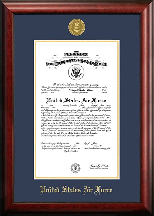 Amazon Com Patriot Air Force Commission Frame Gold Embossed Document Frames