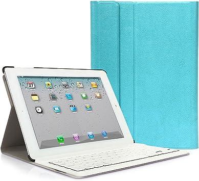 CoastaCloud iPad 2 3 4 Funda con Teclado Bluetooth iPad 2/3/4 Funda Cubierta Protectora con Teclado Inalambrico QWERTY Español (Azul): Amazon.es: Informática