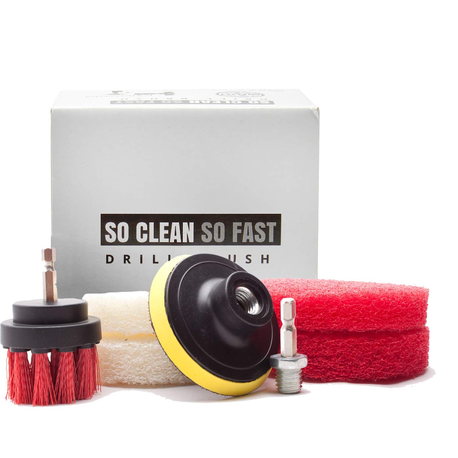 Ultimate Drill Scrub Kit - Clean 5X Faster - Remove Hard Water Stain, Soap Scum on Grout, Corner, Tile, Fiberglass Tub, Vinyl Floor, Glass Door - Bathroom Cleaning Accessory - Drill Brush and Pads Set
