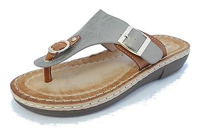 79e5b0308619d Womens Ladies Leather Look Toe Post Flip Flops Cushion Comfort Sandals  PEWTER 5