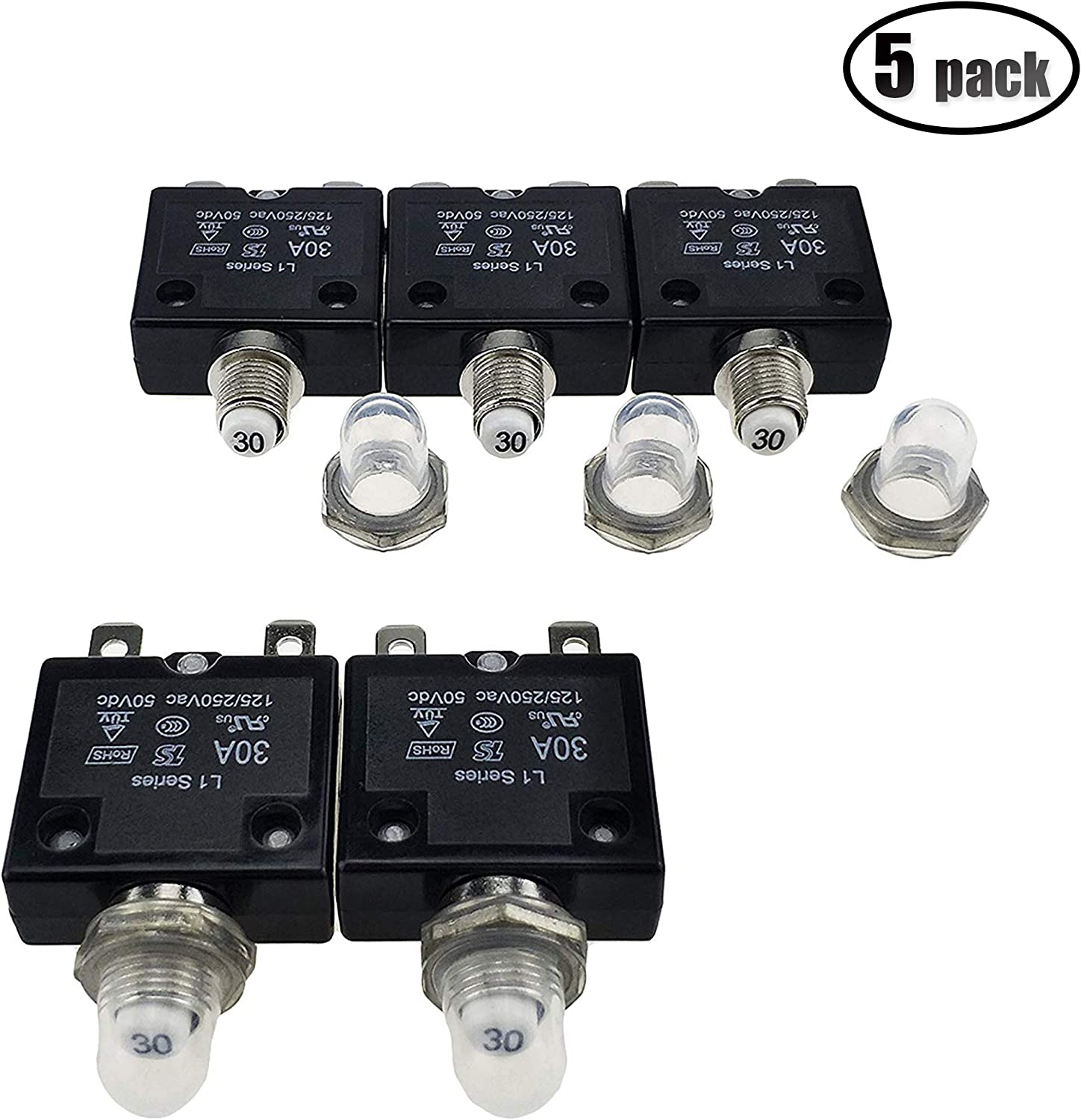 IZTOSS 5PCS 15Amp Circuit Breakers with manual reset Waterproof Button transparent Cover DC50V AC125-250V with Quick Connect Terminals