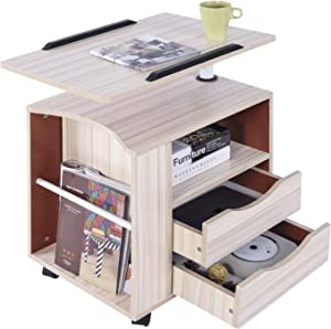 Qiveno Computer Desk Adjustable Laptop Desks Rotary Mobile Wheeled Home Office Furniture Side Bed Table with Drawers DIY Portable Apartment Space Saving Compact Desk White Maple