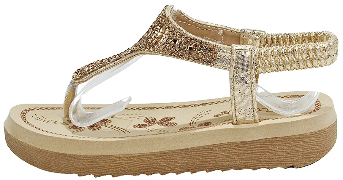 JJF Shoes Girls Kids Irina Black Bling Glitter Rhinestone T-Strap