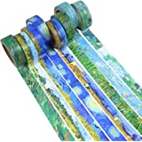 Molshine 8 Sets Decorative Japanese Washi Masking Adhesive Sticky Paper Tape –Van Gogh's Paintings Series Collection, (15mm X 7m, 0.6inch x 7.6 Yard) for Journals, Daily Planners DIY
