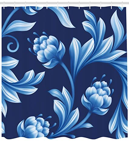 Lunarable Royal Blue Shower Curtain Blossoms In Pastel Toned Colors Folkloric Art Stylized Floral Flourish