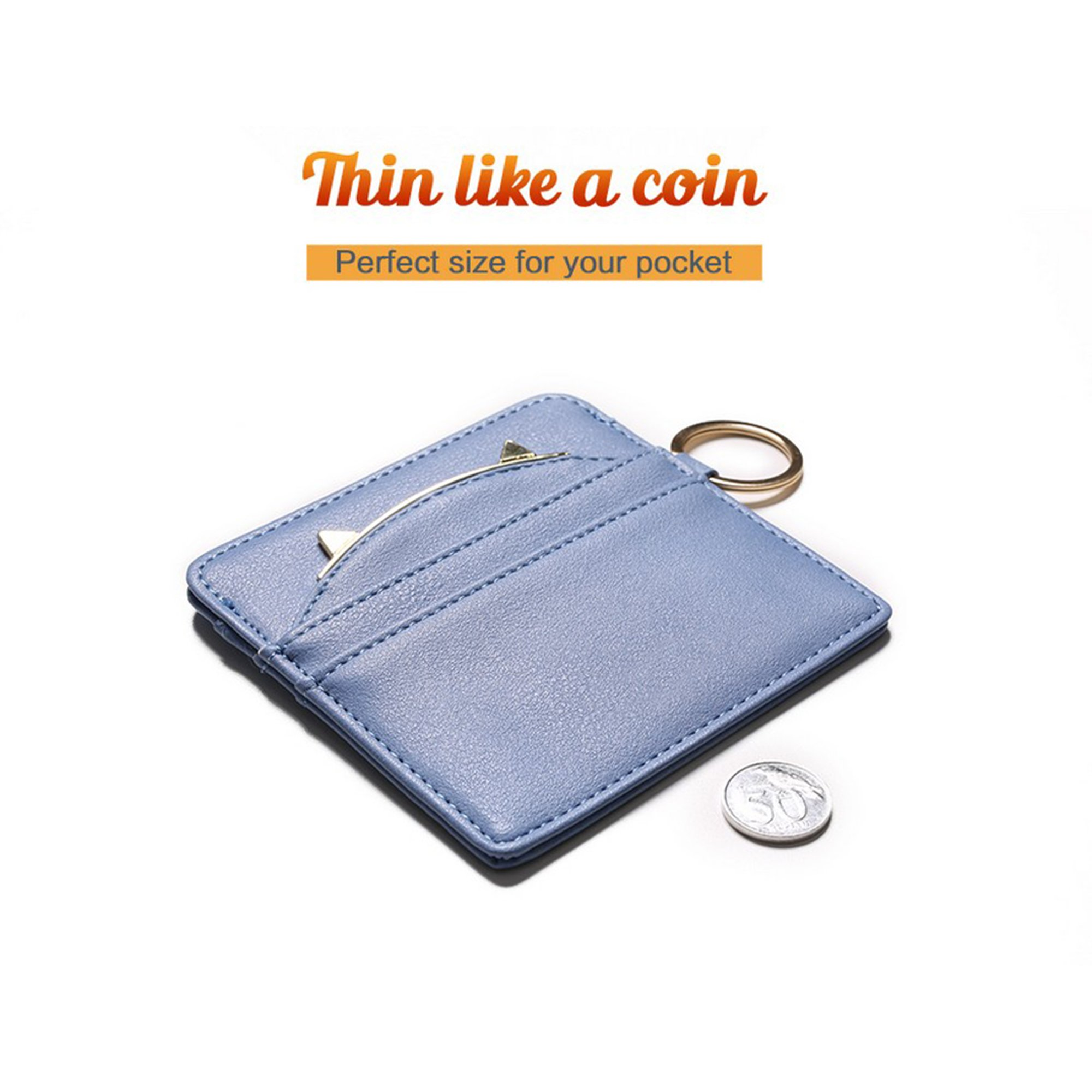 Nico Louise Cat Ear Leather Coin Purses Women Key Chain Credit Card Holders Girls Wallet (Blue) by Nico Louise (Image #4)
