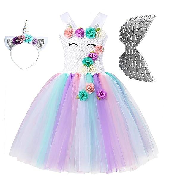 Amazon.com: Disfraz de unicornio tutú para niña, disfraz de ...