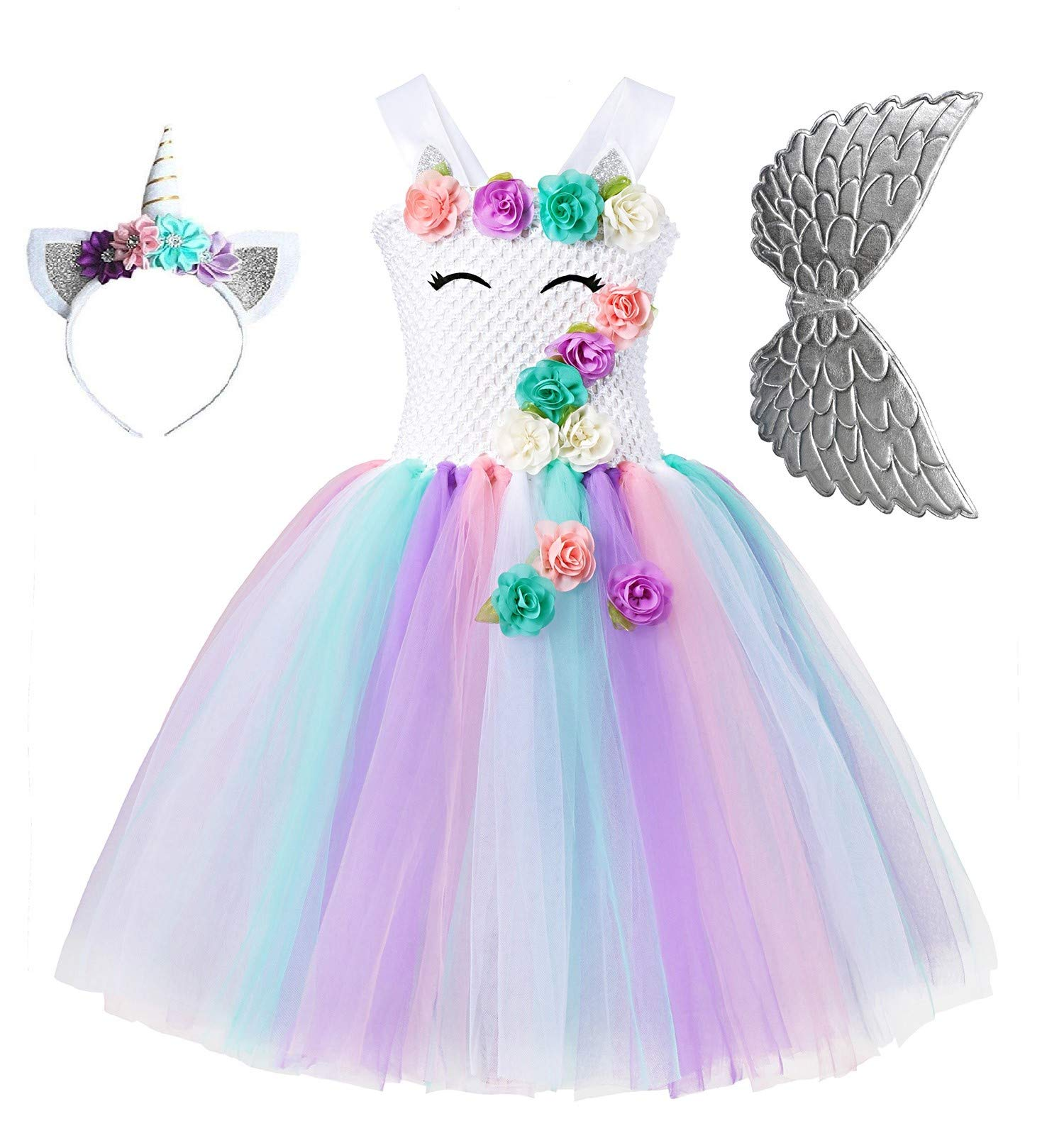 Unicorn Tutu Party Dress for Girls - Flower Pageant Princess Costume with Headband and Wings (6-7Y)