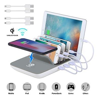 Multi USB Ladestation ValueTalks Qi Ladestation Mehrere Geräte Fast Wireless Charger Induktives Ladegerät mit 4 USB kabel Org