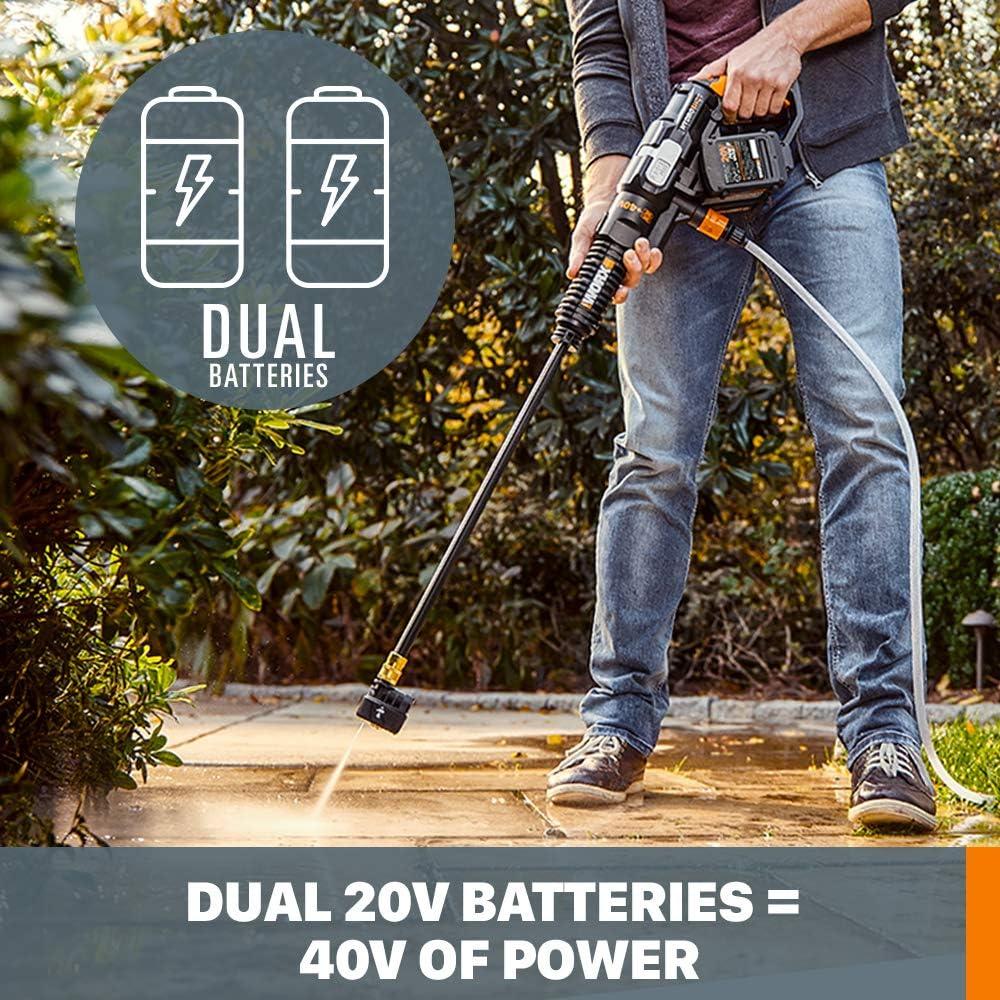 WORX WG644 40V Power Share Hydroshot Portable Power Cleaner (2x20V Batteries), Black and Orange : Garden & Outdoor