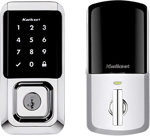 Kwikset 99390-003 Halo Wi-Fi Smart Lock Keyless Entry Electronic Touchscreen Deadbolt Featuring SmartKey Security, Polished Chrome