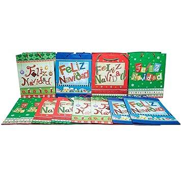 Amazon.com: Medium Feliz Navidad Bolsas de regalo: Health ...