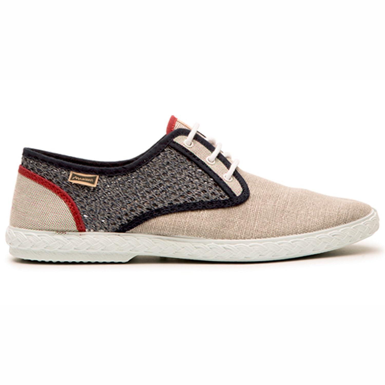 Maians. Zapatos Moda Casual para Hombre. Fabricado Artesanal. Hecho en España. Sneaker 100% Algodón 46 EU|Grey/Beige/Red
