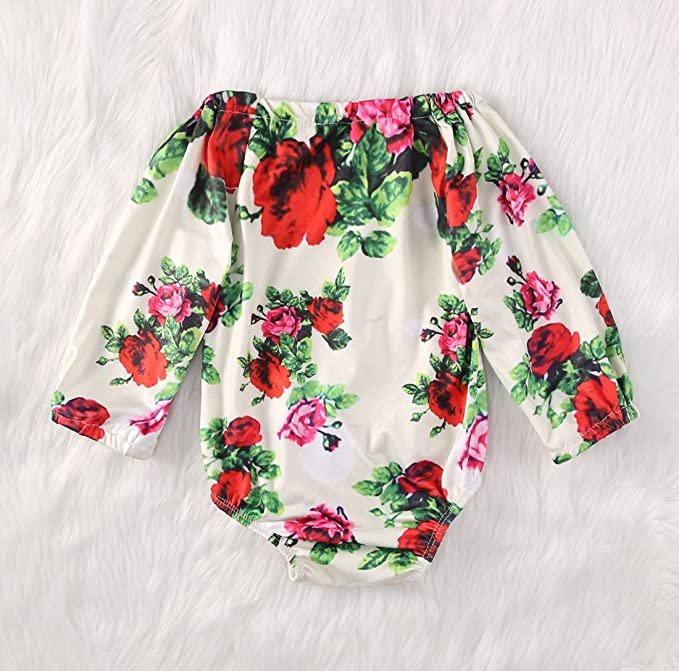 f8c33123b548 Amazon.com  Baby Girls Off Shoulder Floral Butterfly Bodysuits ...