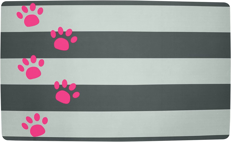 Petmate Gray Stripe Pink Paw Plastic Food Mat