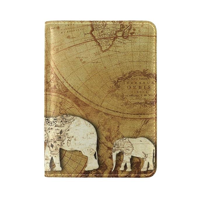 Amazon alaza retro elephant passport cover holder world map alaza retro elephant passport cover holder world map travel wallet black for men gumiabroncs Images