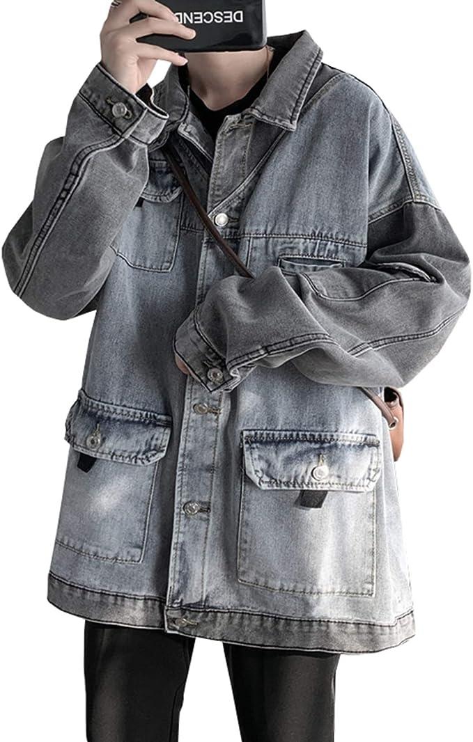 3色展開 デニムジャケット メンズ 春秋 おしゃれ ウォッシュ加工 Gジャン 大きいサイズ ゆったり ストレッチ 合わせやすい カジュアル 通勤 通学 お出かけ 防風 防寒 ジージャン S-3XL
