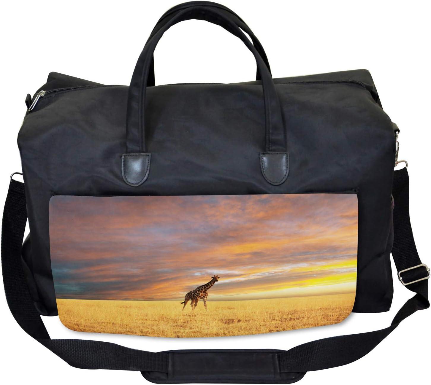 Large Weekender Carry-on African Wildlife Ambesonne Giraffe Gym Bag
