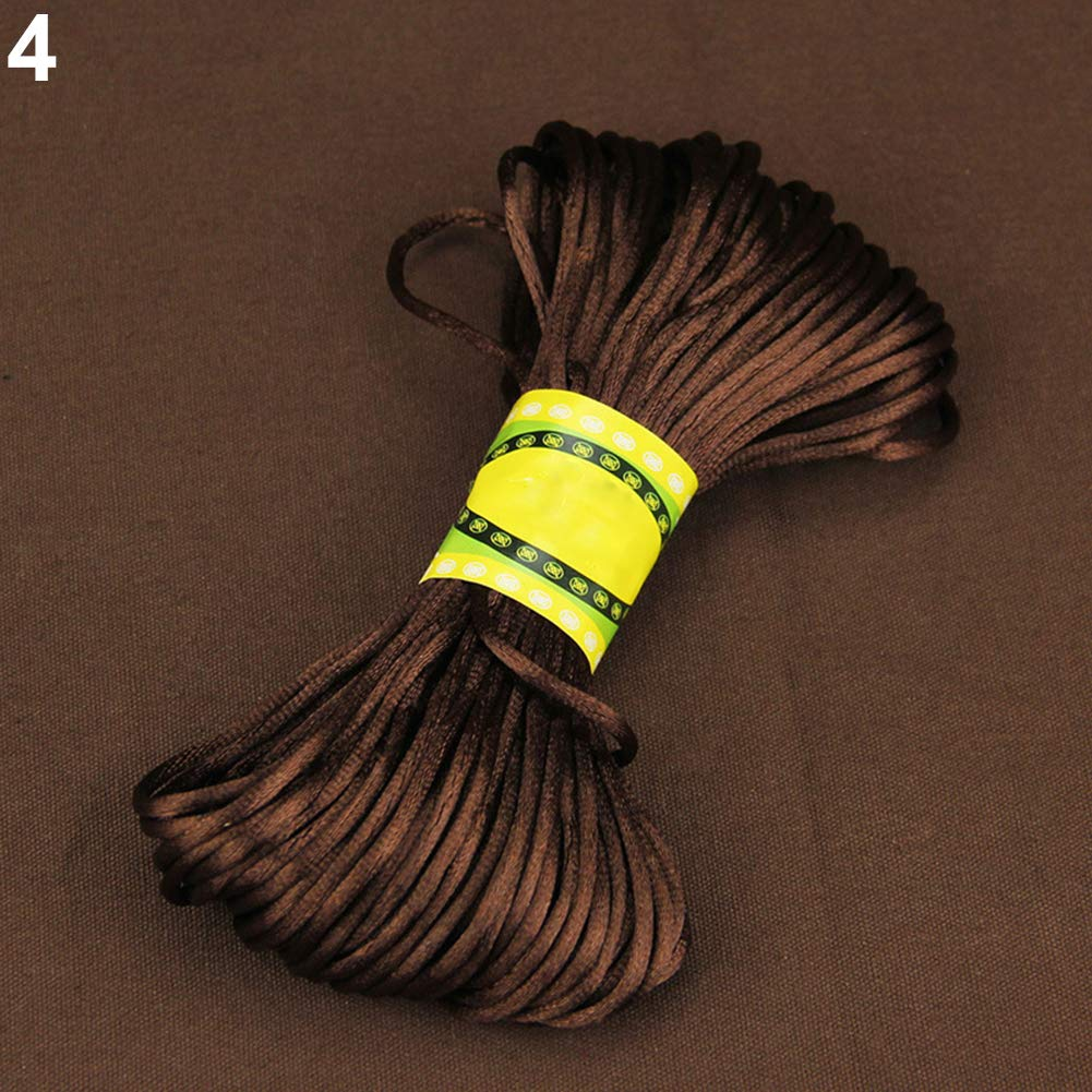 20 Meters 2mm Rattail Satin Cord Nylon Macrame Braiding String Knitting Rope - Rainbow Ameesi