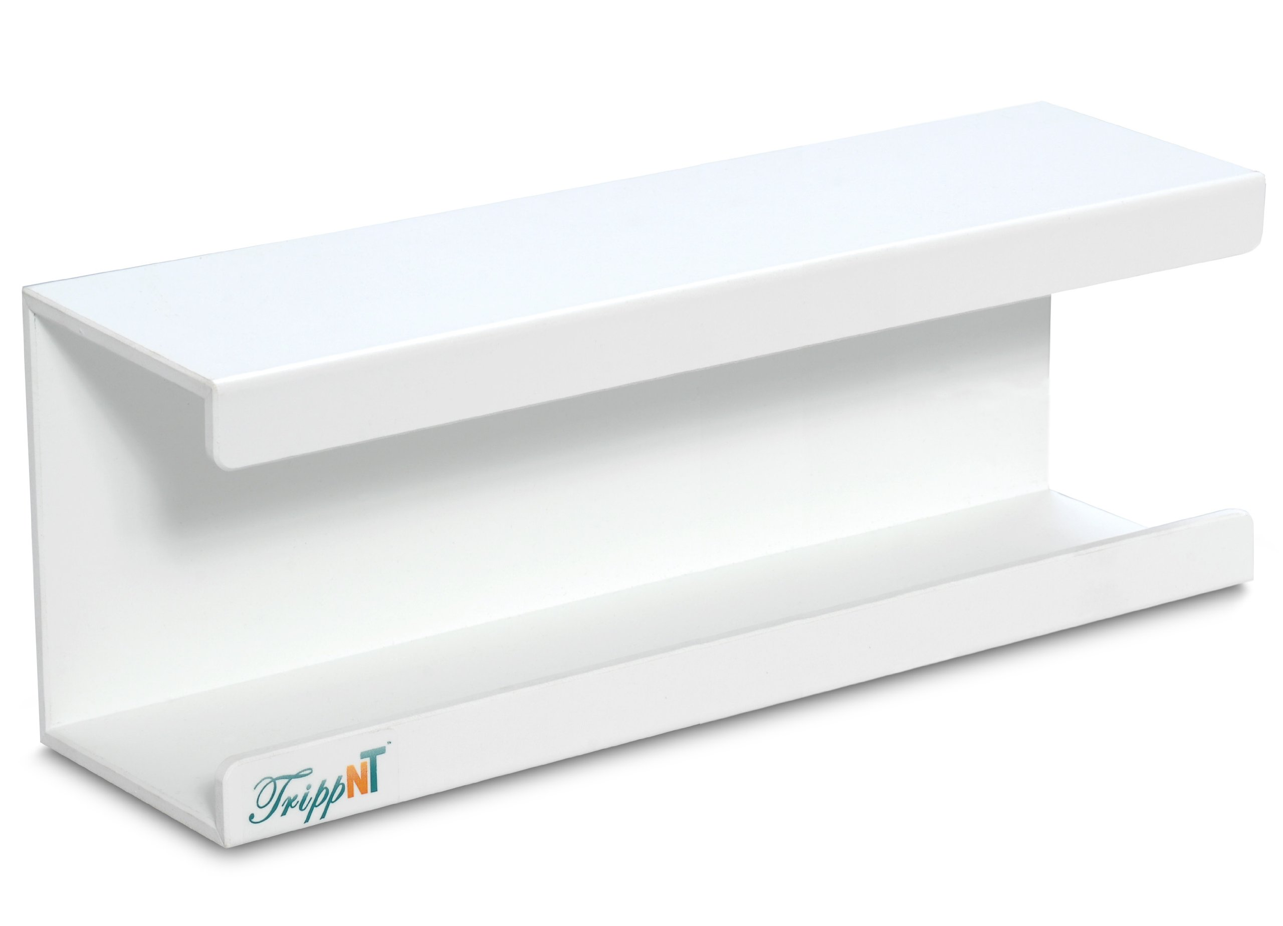 TrippNT 50175 White PVC Large Kimwipe Holder with Double Faced Mounting Tape, 3.5'' Length x 15'' Width x 5'' Height