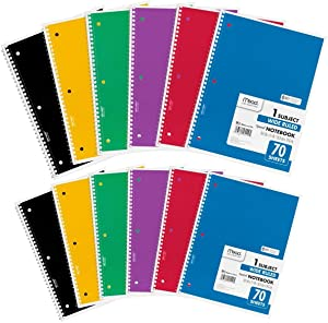 Mead Spiral Notebooks, 1 Subject, Wide Ruled Paper, 70 Sheets, Colored Note Books, Lined Paper, Home School Supplies for College Students & K-12, 10-1/2