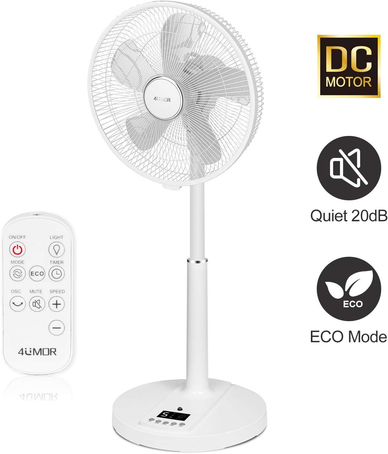 4UMOR Ventilador de Pie Silencioso con Control Remoto, Ventilador Blanco para Mesa, 9 Velocidades, 4 Modos, 24W con Temporizador