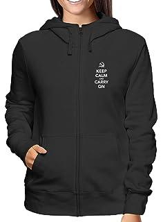 Sweatshirt Damen Hoodie Zip Schwarz TKC1328 Keep Calm And Carry ON