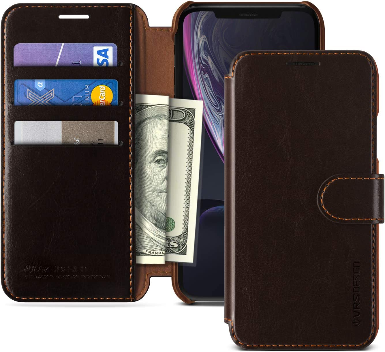 iPhone XR Case, VRS Design [Brown] Drop Protection Cover Classy Slim Premium PU Leather Wallet [Layered Dandy] ID Credit Card Slot Holder Compatible with Apple iPhone XR 6.1 inch (2018)