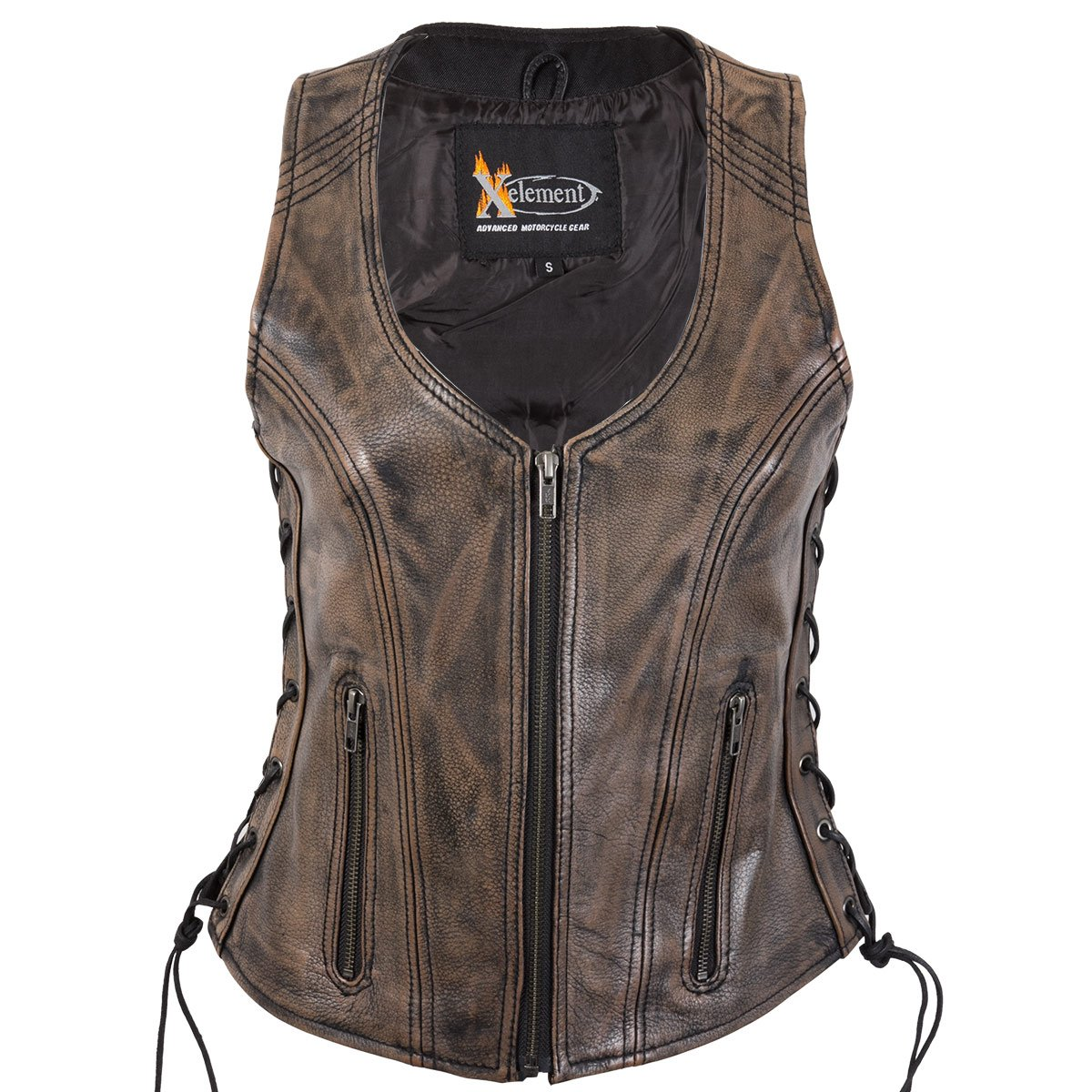 Xelement XS3900 Ladies Distress Brown Leather Vest with Side Adjustable Laces a - 2X-Large