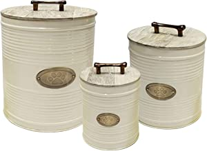 nu steel metal Ribbed Ivory 3 Pc set Jumbo Pet Canister with Golden PAW Plaque, Dog Food Treat Storage Container Jar with wooden Lid with sturdy bone handle, Tight Fitting Lids for Dog Biscuit Cookies