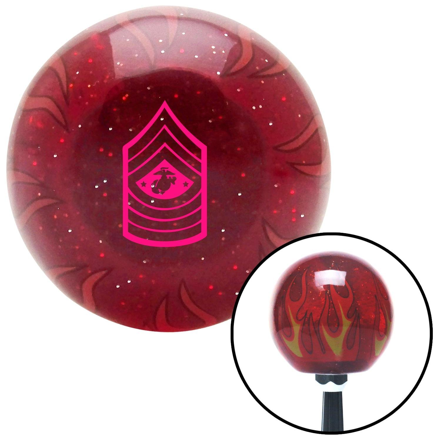American Shifter 241666 Red Flame Metal Flake Shift Knob with M16 x 1.5 Insert Pink 11 Sergeant Major of The Marine Corps