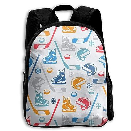121491301a2 KCBover Hockey Equipment Pattern Unisex Kids Backpack Cartoon Bookbags  School Bag for Kindergarten