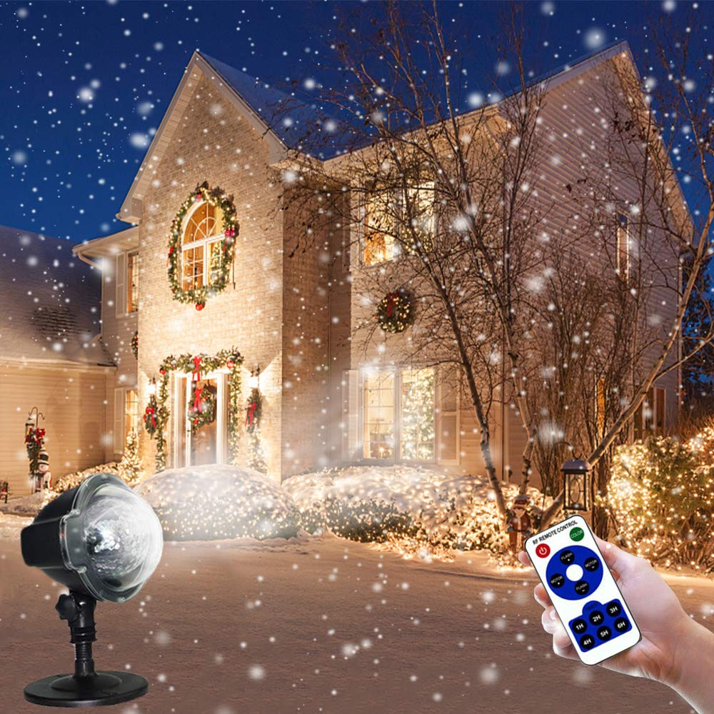 Projector Lights Outdoor Garden Stake Light LED Snowflake Lights Waterproof Landscape Spotlight Remote Fairy Lights White Snowflakes for Indoor Gardens Homes Wedding Lawn Patio Holiday Party Decor