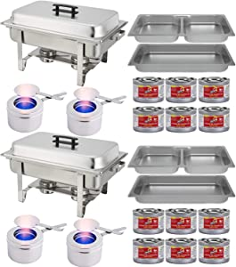 Chafing Dish Buffet Set w/Fuel — Divided pan (4qt x 2)+ Full Pan (8 qt) Water Pan + Frame + Fuel Holders + 12 Fuel Cans - Two Full Warmer kits
