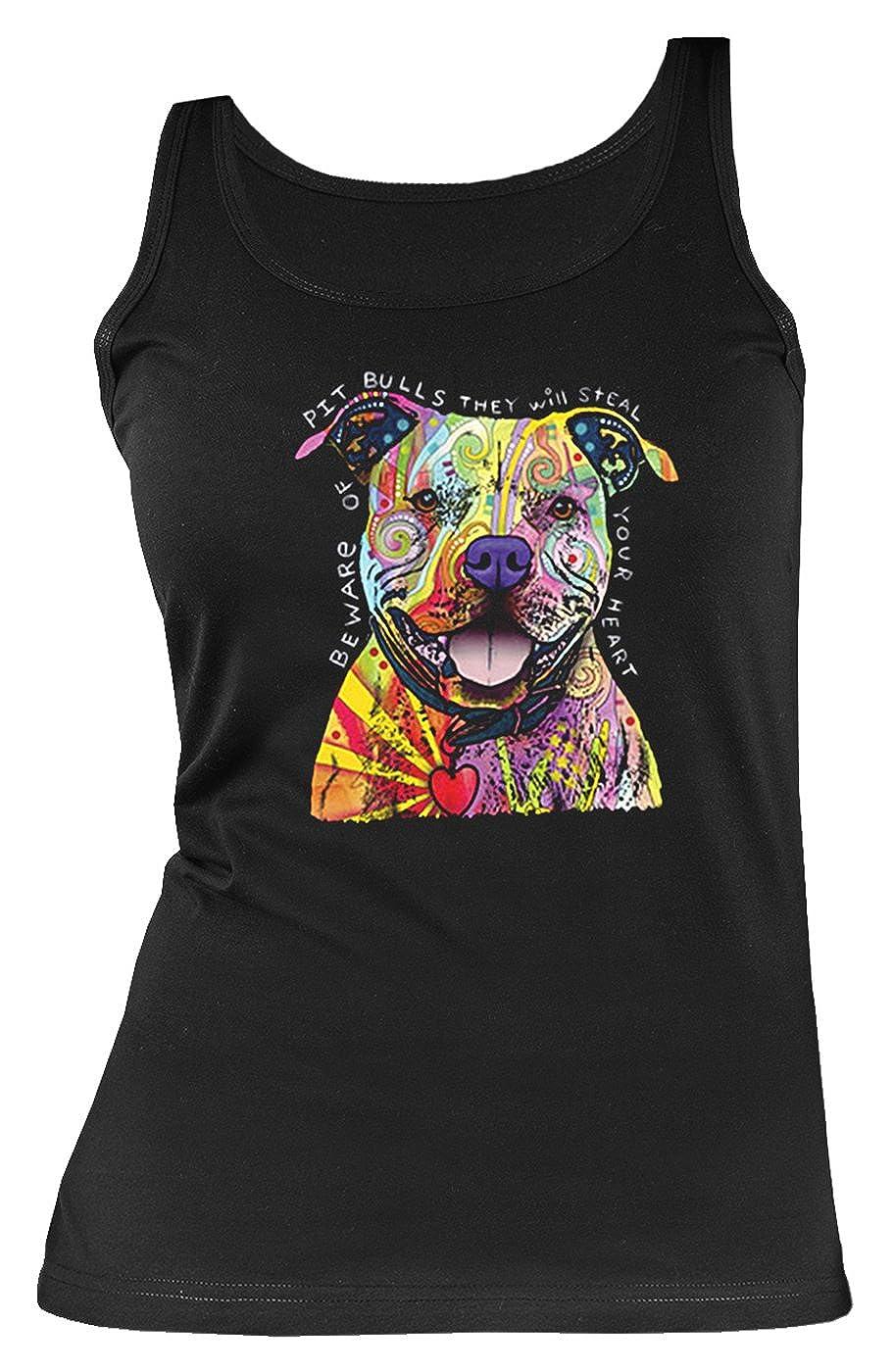 Damen Tanktop Neon Pitbull Shirt 4 Girls Beach Tank Top Lady Geburtstag Geschenk geil bedruckt