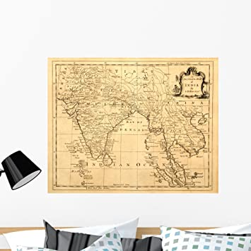 Amazon Com Wallmonkeys Vintage Map India And Wall Mural Peel And Stick Graphic 36 In W X 29 In H Wm197375 Furniture Decor