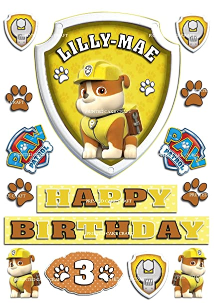 EDIBLE PERSONALISED PAW PATROL BADGE RUBBLE ICING CAKE TOPPER HAPPY BIRTHDAY